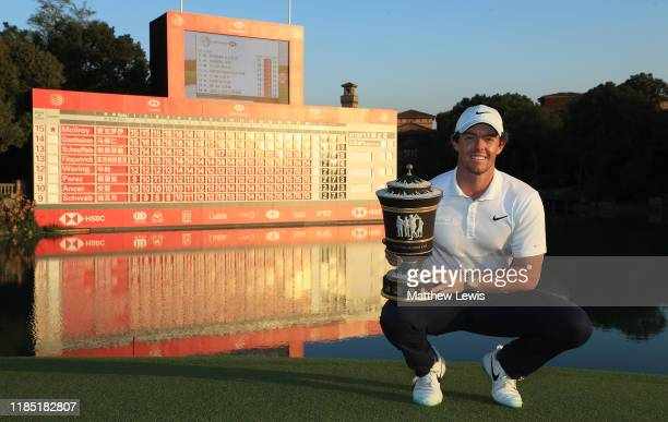 Rory McIlroy of Northern Ireland pictured after with the 'Old Tom Morris Trophy' after winning the WGC HSBC Champions at Sheshan International Golf...