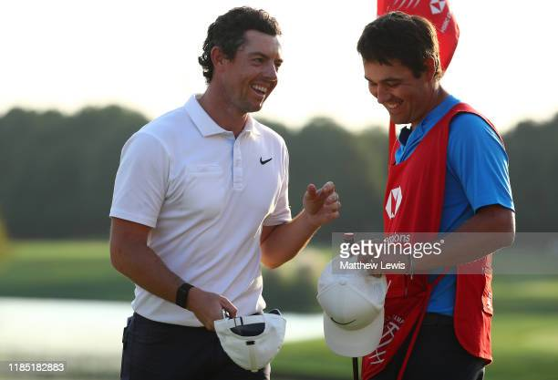 Rory McIlroy of Northern Ireland pictured with caddie Harry Diamond after winning the WGC HSBC Champions at Sheshan International Golf Club on...