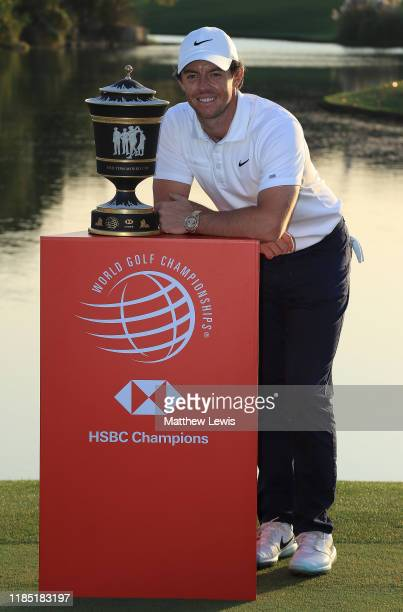Rory McIlroy of Northern Ireland pictured with the 'Old Tom Morris Trophy' after winning the WGC HSBC Champions at Sheshan International Golf Club on...