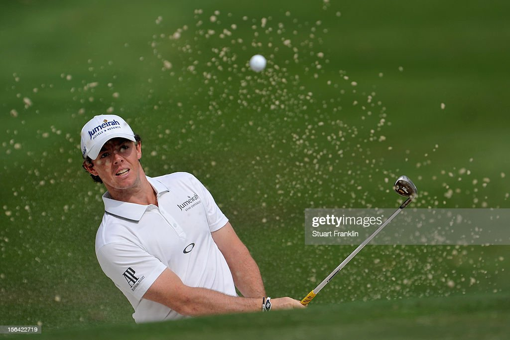 Rory McIlroy of Northern Ireland plays a bunker shot during the first round of the UBS Hong Kong open at The Hong Kong Golf Club on November 15, 2012 in Hong Kong, Hong Kong.
