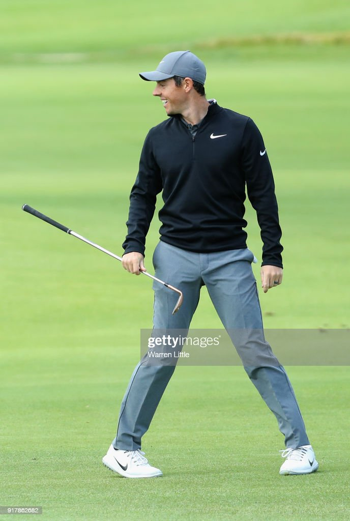 Rory McIlroy of Northern Ireland plays a practice round ahead of the Genesis Open at the Riviera Country Club on February 13, 2018 in Pacific Palisades, California.