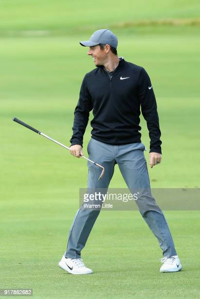 Rory McIlroy of Northern Ireland plays a practice round ahead of the Genesis Open at the Riviera Country Club on February 13 2018 in Pacific...