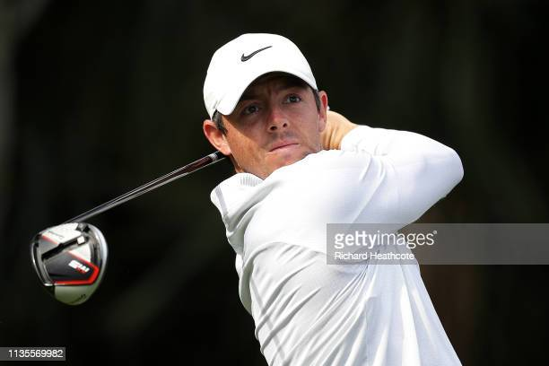 Rory McIlroy of Northern Ireland plays a shot during a practice round for The PLAYERS Championship on The Stadium Course at TPC Sawgrass on March 13...