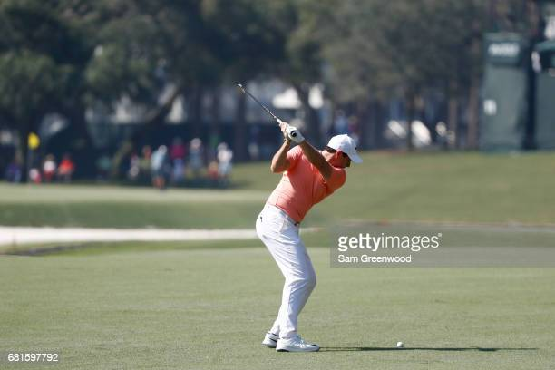 Rory McIlroy of Northern Ireland plays a shot during a practice round prior to THE PLAYERS Championship at the Stadium course at TPC Sawgrass on May...