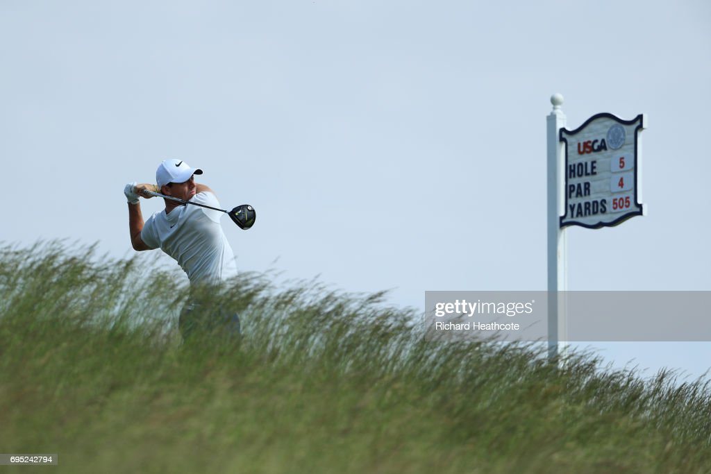 Rory McIlroy of Northern Ireland plays a shot during a practice round prior to the 2017 U.S. Open at Erin Hills on June 12, 2017 in Hartford, Wisconsin.