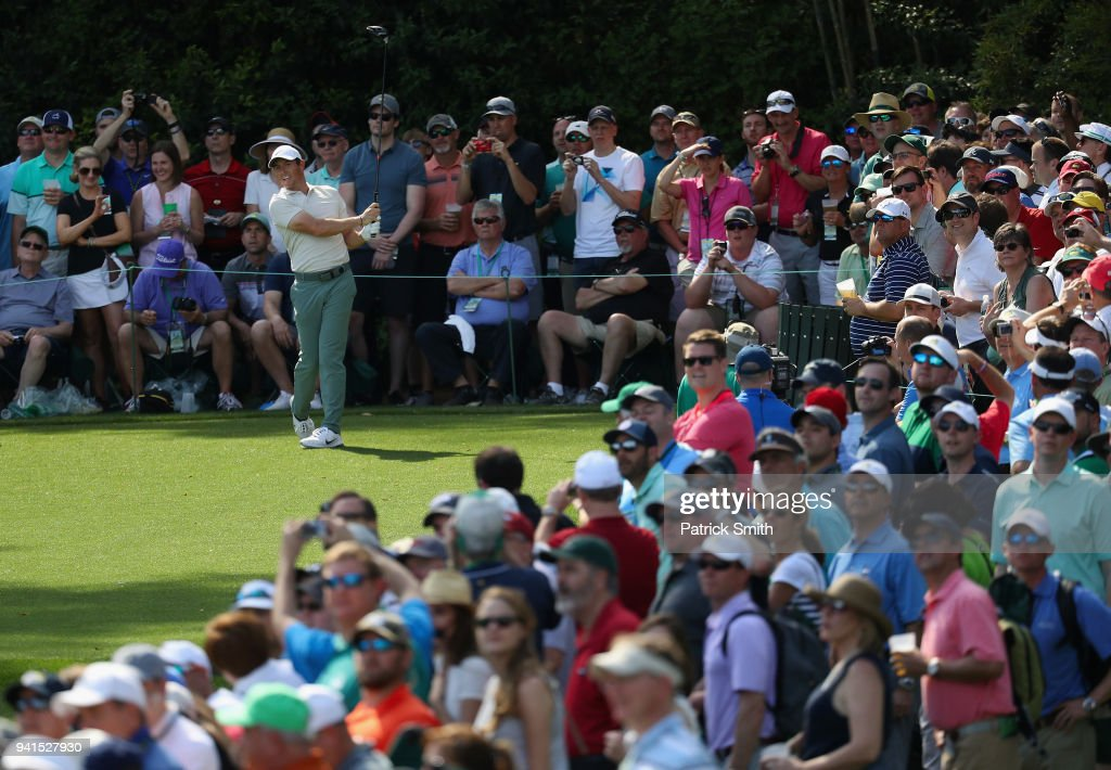 Rory McIlroy of Northern Ireland plays a shot during a practice round prior to the start of the 2018 Masters Tournament at Augusta National Golf Club on April 3, 2018 in Augusta, Georgia.
