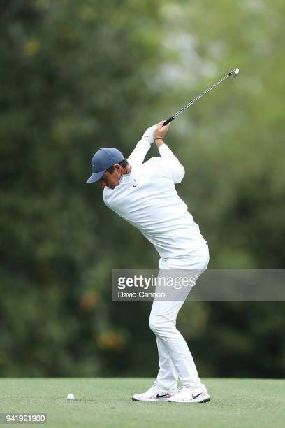 Rory McIlroy of Northern Ireland plays a shot during a practice round prior to the start of the 2018 Masters Tournament at Augusta National Golf Club...