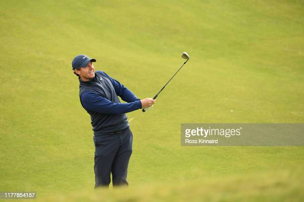 Rory McIlroy of Northern Ireland plays a shot during Day four of the Alfred Dunhill Links Championship at The Old Course on September 29, 2019 in St...