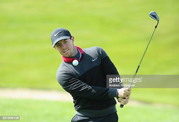 Rory McIlroy of Northern Ireland plays a shot during practice for the Dubai Duty Free Irish Open Hosted by the Rory Foundation at The K Club on May...