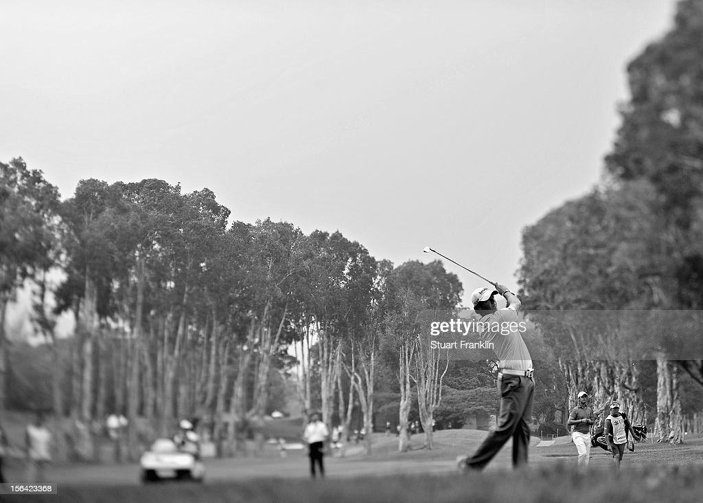 . Rory McIlroy of Northern Ireland plays a shot during the first round of the UBS Hong Kong open at The Hong Kong Golf Club on November 15, 2012 in Hong Kong, Hong Kong.