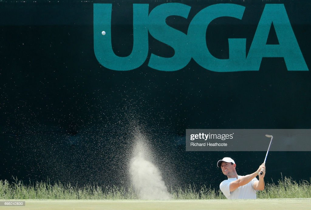 Rory McIlroy of Northern Ireland plays a shot from a bunker during a practice round prior to the 2017 U.S. Open at Erin Hills on June 12, 2017 in Hartford, Wisconsin.