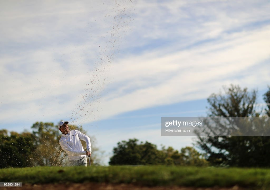 Rory McIlroy of Northern Ireland plays a shot from a bunker on the 16th hole during the second round at the Arnold Palmer Invitational Presented By MasterCard at Bay Hill Club and Lodge on March 16, 2018 in Orlando, Florida.