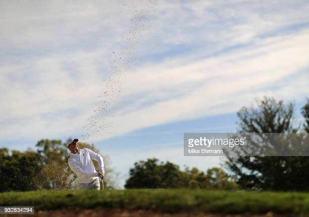 Rory McIlroy of Northern Ireland plays a shot from a bunker on the 16th hole during the second round at the Arnold Palmer Invitational Presented By...