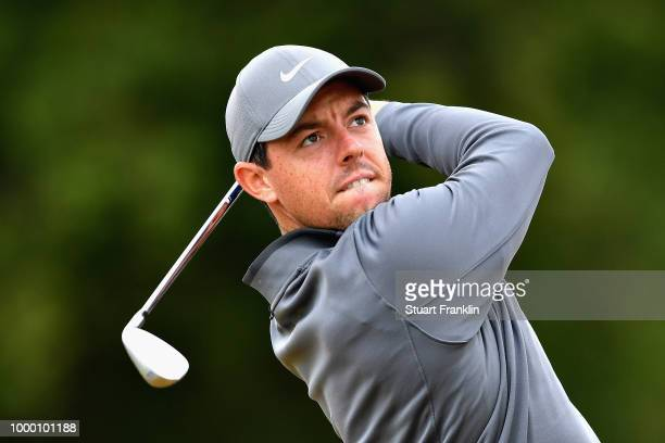 Rory McIlroy of Northern Ireland plays a shot on a practice round during previews ahead of the 147th Open Championship at Carnoustie Golf Club on...
