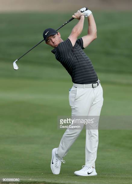 Rory McIlroy of Northern Ireland plays a shot on the 10th hole during the pro-am for the 2018 Abu Dhabi HSBC Golf Championship at the Abu Dhabi Golf...