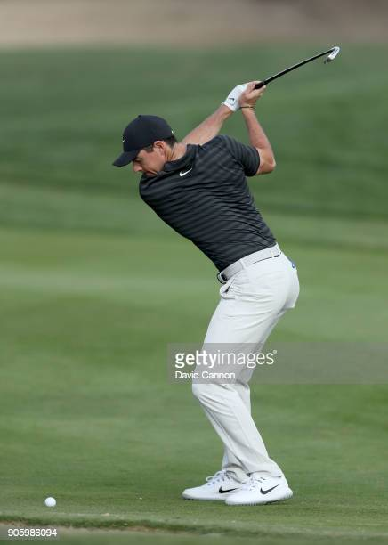 Rory McIlroy of Northern Ireland plays a shot on the 10th hole during the proam for the 2018 Abu Dhabi HSBC Golf Championship at the Abu Dhabi Golf...