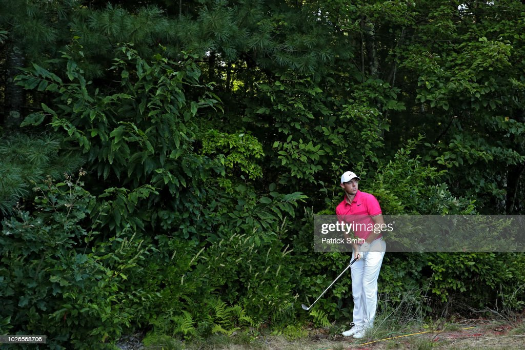 Rory McIlroy of Northern Ireland plays a shot on the 14th hole during the final round of the Dell Technologies Championship at TPC Boston on September 3, 2018 in Norton, Massachusetts.