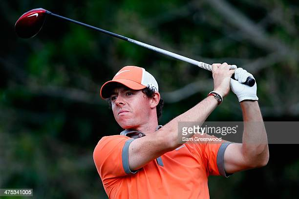 Rory McIlroy of Northern Ireland plays a shot on the 14th hole during the first round of The Honda Classic at PGA National Resort and Spa on February...