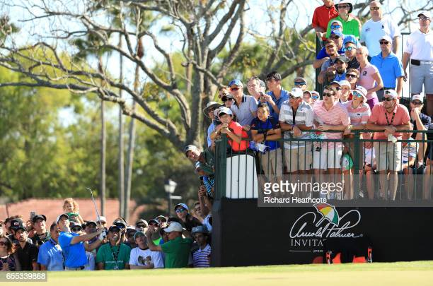 Rory McIlroy of Northern Ireland plays a shot on the 14th hole during the final round of the Arnold Palmer Invitational Presented By MasterCard at...