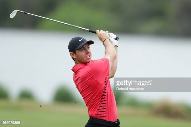 Rory McIlroy of Northern Ireland plays a shot on the 14th hole during the third round of the World Golf ChampionshipsDell Match Play at Austin...