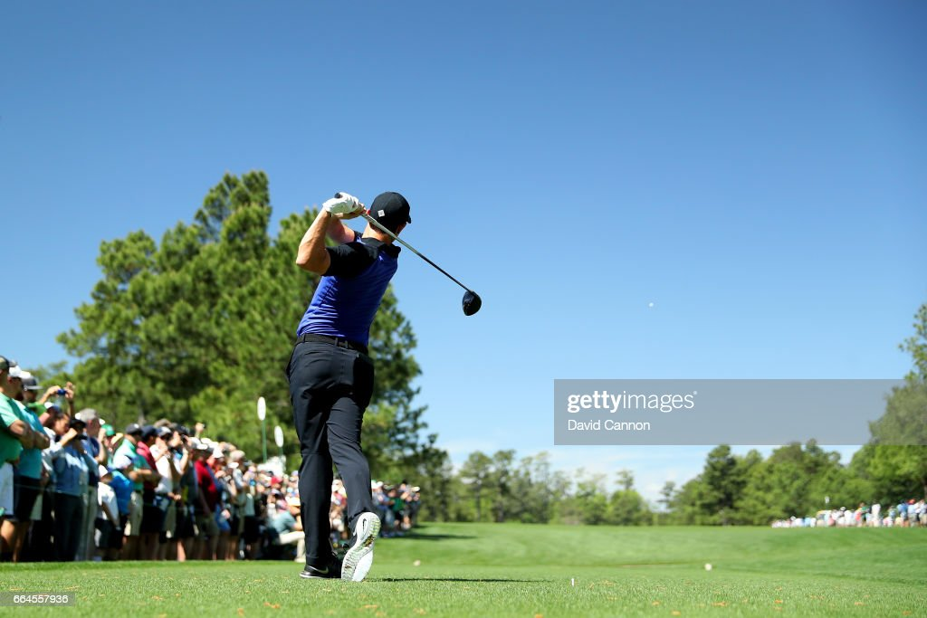 Rory McIlroy of Northern Ireland plays a shot on the 15th tee during a practice round prior to the start of the 2017 Masters Tournament at Augusta National Golf Club on April 4, 2017 in Augusta, Georgia.