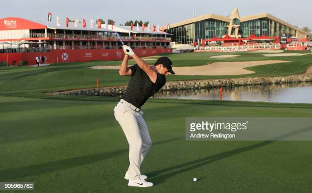 Rory McIlroy of Northern Ireland plays a shot on the 18th hole during the proam prior to the Abu Dhabi HSBC Golf Championship at Abu Dhabi Golf Club...