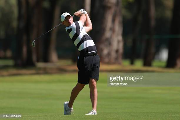 Rory McIlroy of Northern Ireland plays a shot on the 6th hole ahead of World Golf Championships-Mexico Championship at Club de Golf Chapultepec on...