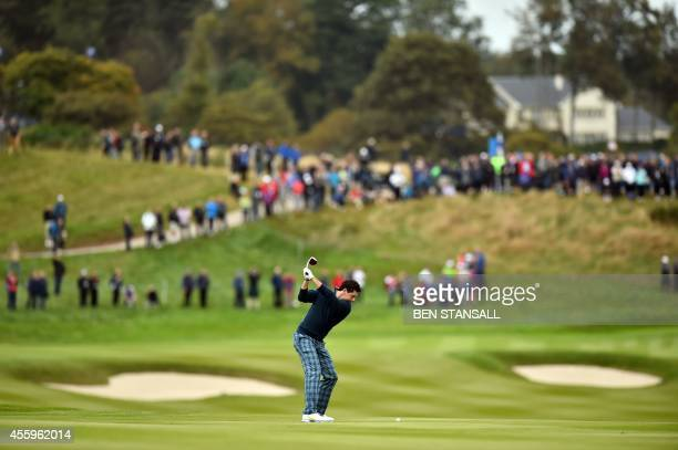 Rory McIlroy of Northern Ireland plays a shot on the ninth fairway during a practice round at the Gleneagles golf course in Gleneagles Scotland on...