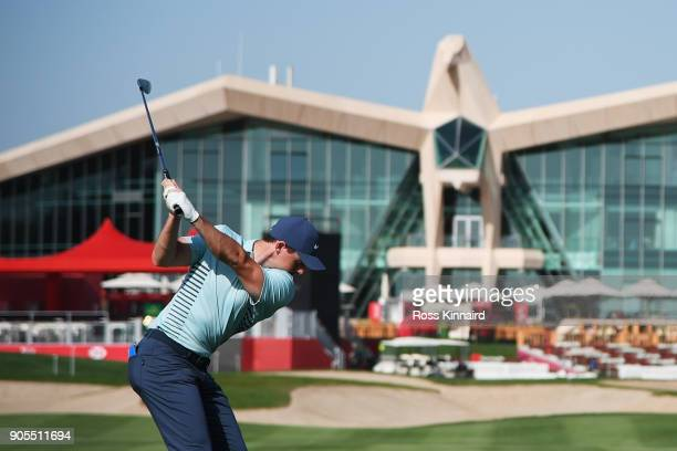 Rory McIlroy of Northern Ireland plays a shot on the ninth hole during practice rounds for the Abu Dhabi HSBC Golf Championship at Abu Dhabi Golf...