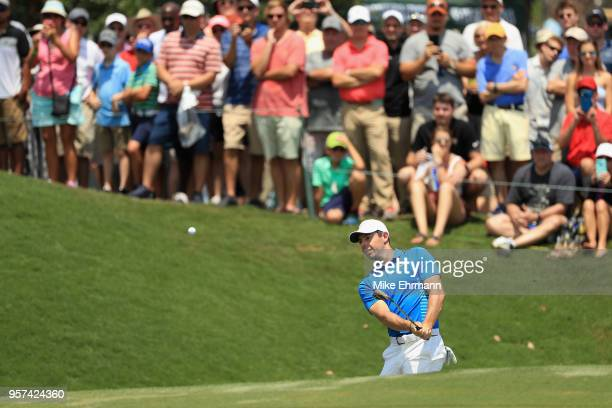 Rory McIlroy of Northern Ireland plays a shot on the second hole during the second round of THE PLAYERS Championship on the Stadium Course at TPC...