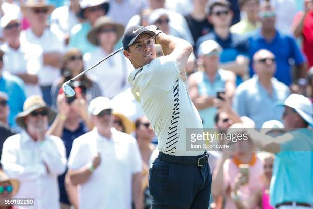 Rory McIlroy of Northern Ireland plays a shot on the third hole during the first round of THE PLAYERS Championship on May 10 2018 at TPC Sawgrass in...