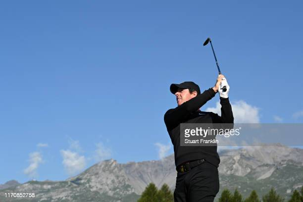 Rory McIlroy of Northern Ireland plays a shot on the twelfth during Day One of the Omega European Masters at Crans Montana Golf Club on August 29...