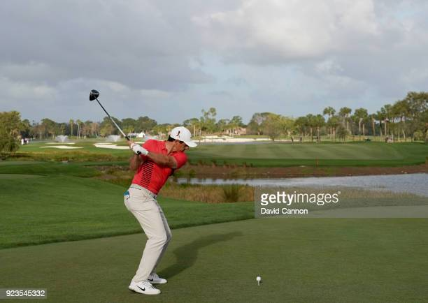 Rory McIlroy of Northern Ireland plays a TaylorMade M3 Driver from the 18th tee during the first round of the 2018 Honda Classic on The Champions...