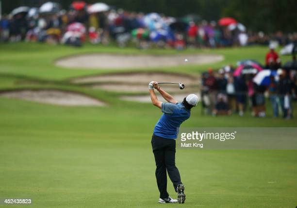 Rory McIlroy of Northern Ireland plays an approach shot during day two of the Australian Open at Royal Sydney Golf Club on November 29, 2013 in...