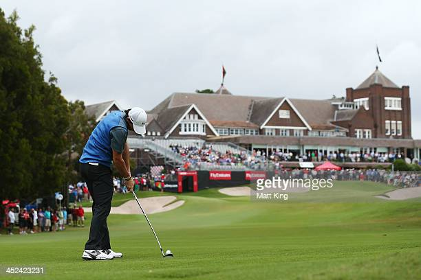 Rory McIlroy of Northern Ireland plays his approach shot on the 18th hole during day two of the Australian Open at Royal Sydney Golf Club on November...