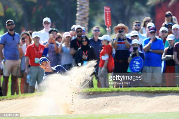 Rory McIlroy of Northern Ireland plays his fourth shot on the eighth hole during round two of the Abu Dhabi HSBC Golf Championship at Abu Dhabi Golf...