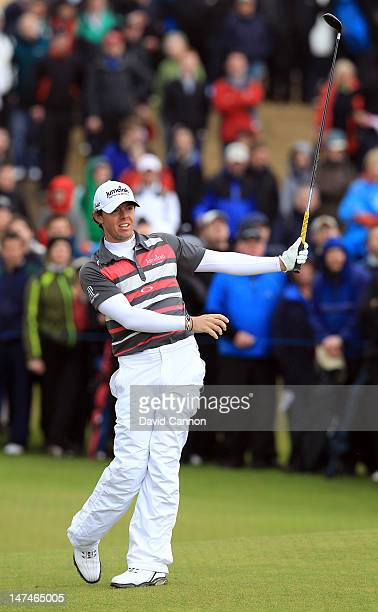 Rory McIlroy of Northern Ireland plays his second shot at the 17th hole during the third round of the 2012 Irish Open held on the Dunluce Links at...