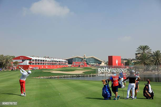 Rory McIlroy of Northern Ireland plays his second shot at the par 5, 18th hole which finished close to the hole for an eagle three finish during the...