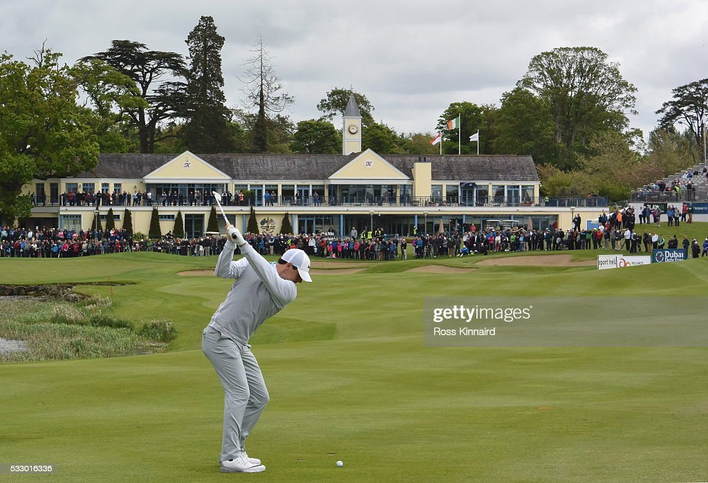 Rory McIlroy of Northern Ireland plays his second shot in to the par five 18th hole during the second round of the Dubai Duty Free Irish Open hosted by the Rory Foundation at The K Club on May 20, 2016 in Straffan, Ireland