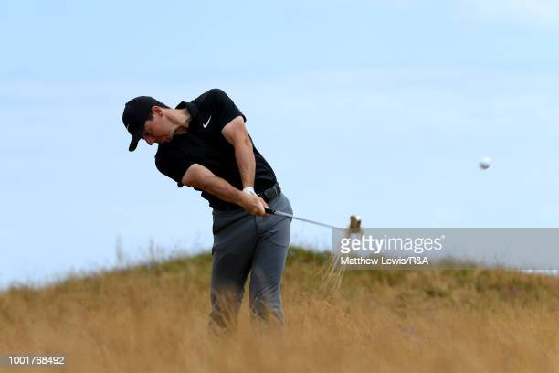 Rory McIlroy of Northern Ireland plays his second shot on 6th hole during round one of the 147th Open Championship at Carnoustie Golf Club on July 19...