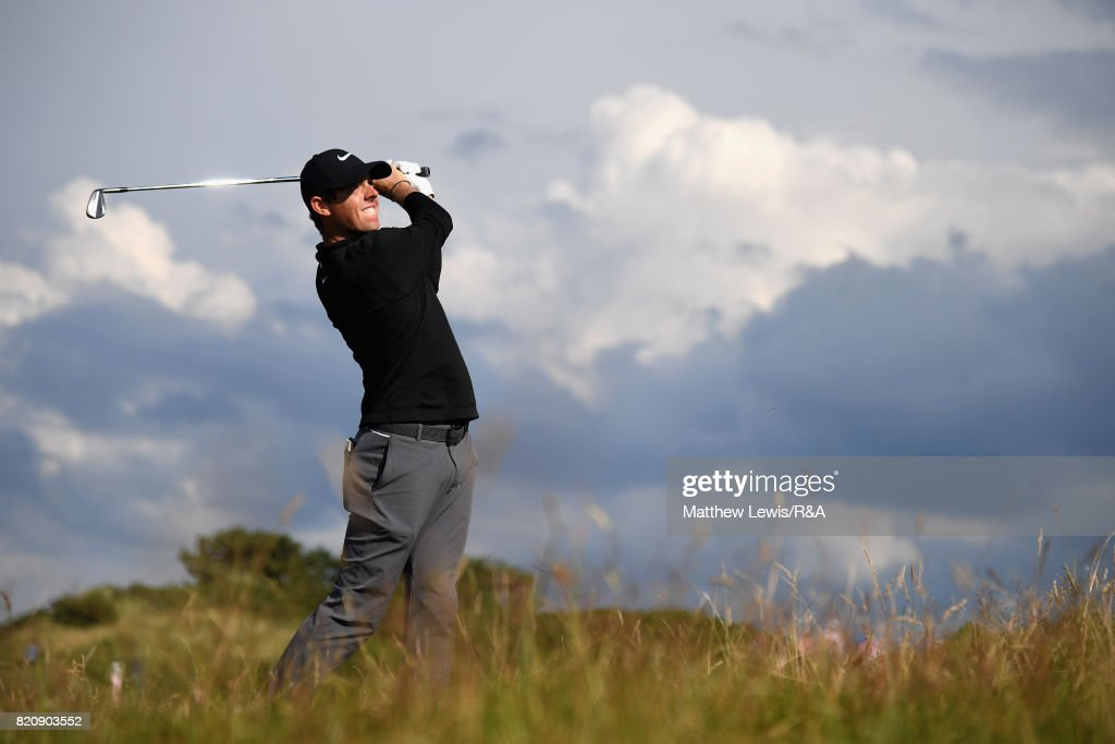 Rory McIlroy of Northern Ireland plays his second shot on the 11th hole during the third round of the 146th Open Championship at Royal Birkdale on July 22, 2017 in Southport, England.