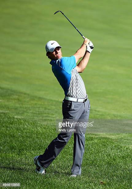 Rory McIlroy of Northern Ireland plays his second shot on the 14th hole during the second round of the Memorial Tournament presented by Nationwide...