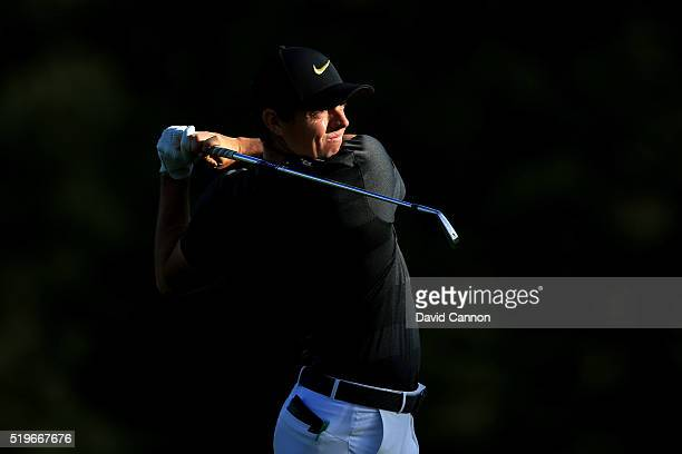 Rory McIlroy of Northern Ireland plays his second shot on the 15th hole during the first round of the 2016 Masters Tournament at Augusta National...