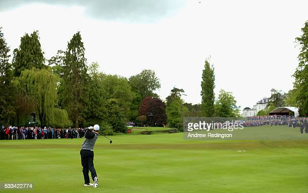 Rory McIlroy of Northern Ireland plays his second shot on the 16th hole during the final round of the Dubai Duty Free Irish Open Hosted by the Rory...