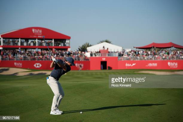 Rory McIlroy of Northern Ireland plays his second shot on the 17th hole during round two of the Abu Dhabi HSBC Golf Championship at Abu Dhabi Golf...