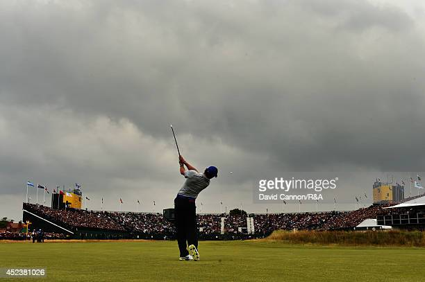 Rory McIlroy of Northern Ireland plays his second shot on the 18th hole during the third round of The 143rd Open Championship at Royal Liverpool on...