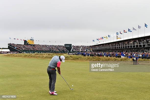 Rory McIlroy of Northern Ireland plays his second shot on the 18th fairway during the final round of The 143rd Open Championship at Royal Liverpool...