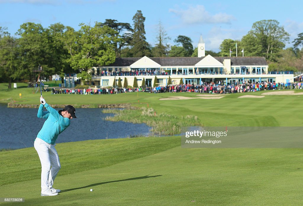Rory McIlroy of Northern Ireland plays his second shot on the 18th hole during the first round of the Dubai Duty Free Irish Open Hosted by the Rory Foundation at The K Club on May 19, 2016 in Straffan, .