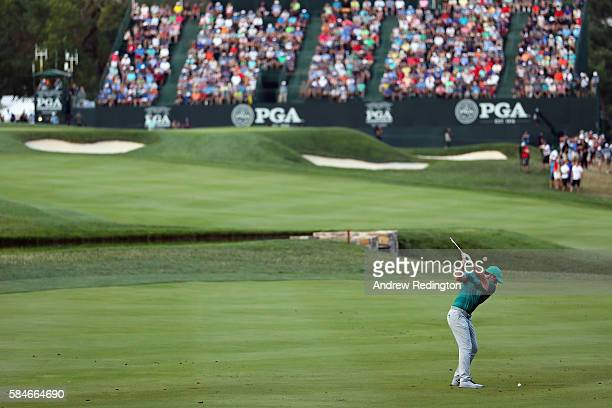 Rory McIlroy of Northern Ireland plays his second shot on the 18th hole during the second round of the 2016 PGA Championship at Baltusrol Golf Club...