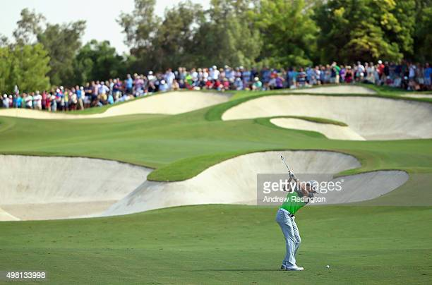 Rory McIlroy of Northern Ireland plays his second shot on the fifth hole during the third round of the DP World Tour Championship on the Earth Course...